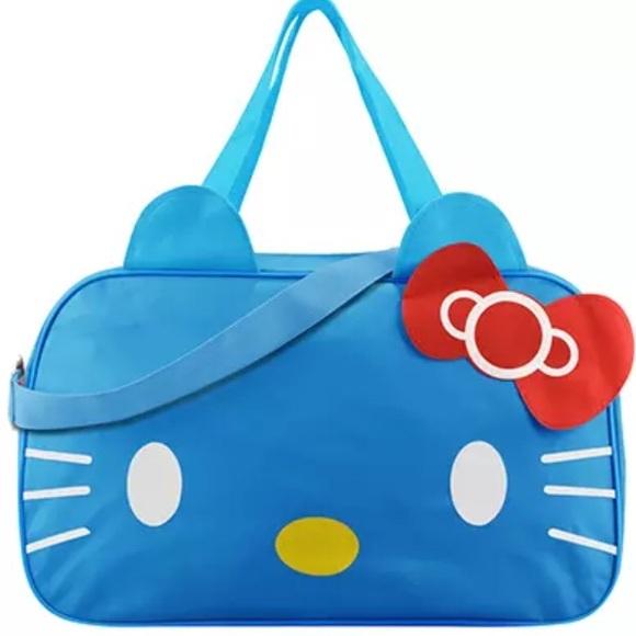 7251f95bb9 Hello Kitty Light Blue Gym Duffle Travel Bag